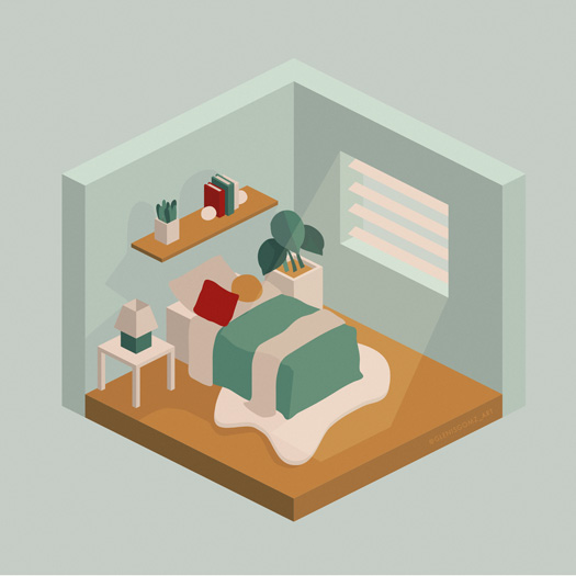 Isometric bedroom by @glenisgomz_art